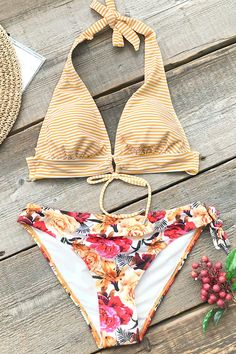 92982a23d7 A striped top and floral print bikini bottom offer a unique swimwear look  you haven t seen. Product Code  Details  Halter design Tie at back With  padded bra ...
