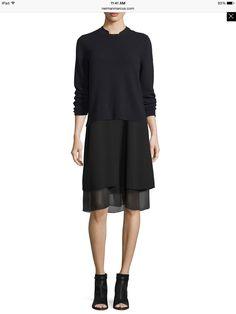 bd14a984bfa Eileen Fisher Sleeveless Silk Dress W  Chiffon Trim