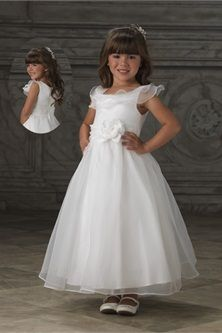 68f6b3489b9 A-Line White Organza Round Neck Party Holiday Flower Girl Dress