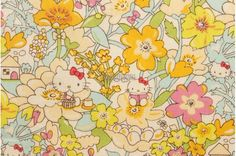 Liberty tana lawn - Kirstie Hello Kitty printed in Japan - Yellow mix. $12.25, via Etsy.