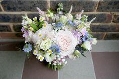 Peony Rose Daisy Gypsophila Bouquet Flowers Bride Bridal Pink Blue Sweet Pastel Village Hall Wedding http://www.helenstrongphotography.co.uk/