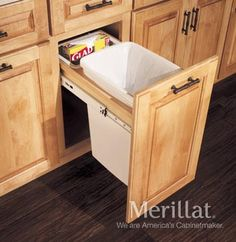 Explore Merillat Cabinets, your preferred source for exquisite kitchen and bath cabinets and accessories, design insipiration, and useful space planning tools. Condo Kitchen, Kitchen And Bath, Kitchen Cleaning, Kitchen Remodel, Garbage Can Storage, Kitchen Cabinet Accessories, Bathroom Accessories, Home Decor Dyi, Quality Cabinets