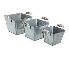 Set de 3 jardineras de metal, gris - cuadrado