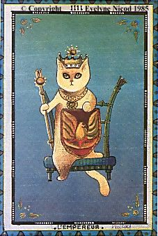 The Emperor Tarot Card (by Evelyne Nicod) The Emperor Tarot, Tarot Major Arcana, Cartomancy, Pink Moon, Silly Cats, Oracle Cards, Cool Pets, Cat Tattoo, Crazy Cat Lady