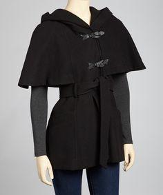 Black Hooded Cape Coat