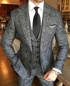 Grey heather men's tweed three piece suit; gentleman's style; Sharp Dressed Man, Well Dressed Men, Mens Fashion Suits, Mens Suits, Fashion Outfits, Groom Suits, Groom Attire, Stylish Outfits, Stylish Men