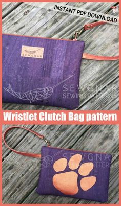 Wristlet Clutch Bag sewing pattern. Easy to sew wristlet clutch bag sewing pattern. Works well with all fabrics including cork and vinyl. We love how the strap attaches to the zipper pull. An ideal beginner sewing pattern for a zipper wristlet bag, where the intermediate sewer can add their own design ideas. #SewModernBags