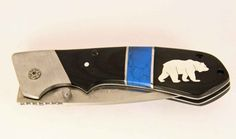 Elk Ridge Pocket knife with custom Silver Bear by DropPointLLC