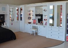 Portafino White Fitted Bedroom with dressing table, providing useful storage and a classic look #sale #home #bedroom