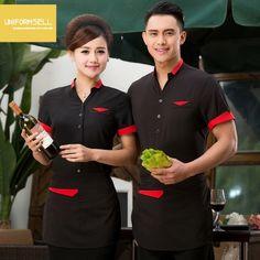 short sleeve summer red collar hem waiter shirt uniform summer short sleeve design Hotel Uniform, Restaurant Uniforms, Sleeve Designs, Summer Shorts, Shirt Jacket, Retail, Red, Jackets, Shirts