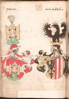 Wernigeroder (Schaffhausensches) Wappenbuch Süddeutschland, 4. Viertel 15. Jh. Cod.icon. 308 n  Folio 42v