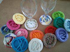 ID Wine Glass Coaster- less than 10 yards of yarn to crochet it!