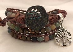 Jasper Gemstone Brown Leather Beaded Wrap by WrapitupBoutique