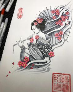 Mur textile gabarit w-099 Geisha ~ a5 a4 a3 ~ umr-DESIGN