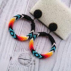 Native American Style Black Beaded Earrings, Stud hoop seed bead earrings, Navajo Inspired hoop earr #beadedjewelry