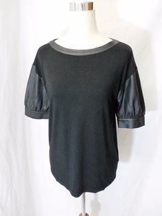 NWOT COP.COPINE PARIS Size L BLACK FAUX LEATHER TRIM AND SHORT SLEEVES TOP #CopCopine #KnitTop #Casual