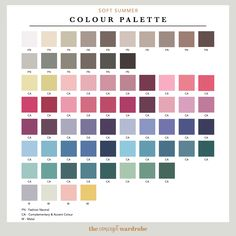 If you have just discovered that you are a Soft Summer in the seasonal colour analysis, find out which colours look best on you. Soft Summer Color Palette, Summer Colors, Seasonal Color Analysis, Color Me Beautiful, Season Colors, Color Theory, Color Pallets, Muted Colors, Pantone