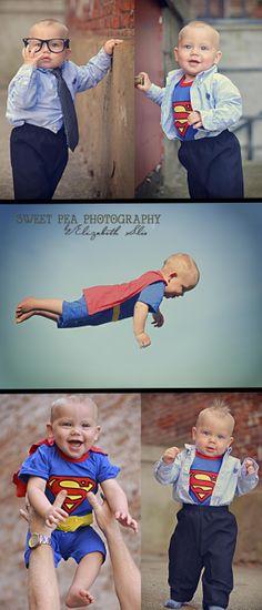 One Year Old Boy Birthday Photo Shoot Ideas. Super Hero Superman Photo Shoot. Sweet Pea Photography, Norwalk, OH