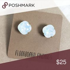 Swarovski Crystal Stud Set in White Opal Swarovski Crystal Stud Set in White Opal. Large 12mm stone. Plated antique silver. Brand new from Floorboard Findings Floorboard Findings Jewelry Earrings