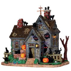 Lemax Spooky Town Collection Halloween Village Building  Vicki'S Cattery  With 4.5V Adaptor
