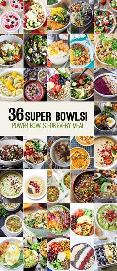 Here's a collection of 36 super bowls (more like power bowls) to get you pumped and energized for game day. Whether you're looking for a roasted root vegetable buddha bowl a breakfast smoothie bowl or a fajita quinoa bowl this list has you covered. Whole Food Recipes, Cooking Recipes, Super Food Recipes, Healthy Snacks, Healthy Eating, Healthy Smoothies, Green Smoothies, Diet Snacks, Diet Meals