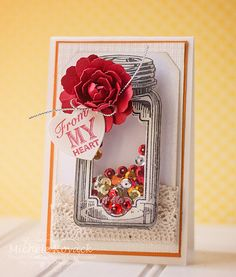 Fun shaker card using JustRites new set Baking Antiques Tags One