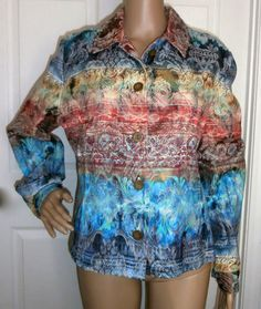 COLDWATER CREEK ARTISTIC MULTI COLOR PAISLEY SHIRT JACKET SIZE LARGE EXCELLENT!http://r.ebay.com/5ngTWf