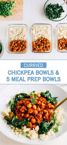 These Vegan Curried Chickpea Bowls make meal-prep a breeze! Chickpeas pair with garlic, spinach, and brown rice for an easy meal that's absolutely delicious and filling. Plus, check out 5 other meal prep recipes to try this weekend.