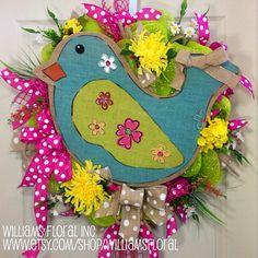 Spring / Summer Mesh Wreath on Etsy, $125.00