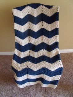 Summer Sale Adult size chevron blue and white crochet nautical blanket/afghan
