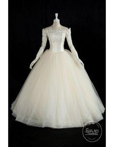 Off shoulder pearls beaded bodice cream color long sleeves wedding dresses 2017 BL-5054 - Bridal Wedding Dresses   - Only Love