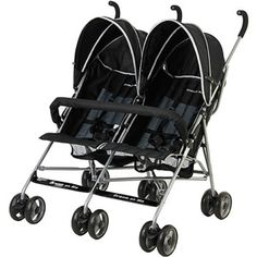 Dream On Me Double Twin Stroller. Product Features Color: Black Lightweight construction Fully reclining seats Five point safety harness Adjustable, umbrella like canopies Rear wheel brake Baby Jogger Stroller, Twin Strollers, Double Strollers, Toddler Stroller, Double Stroller Reviews, Best Double Stroller, Single Stroller, Double Prams, Best Lightweight Stroller
