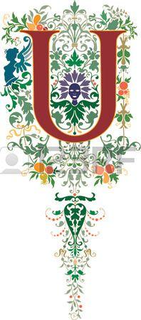 Fantasy Stil englische Alphabet Buchstaben U Farbiger Lizenzfreie Bilder