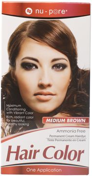 Nu-Pore Hair Color, Medium Brown  Nu-Pore Hair Color uses an ammonia free permanent cream to provide maximum conditioning with vibrant color. Use Nu-Pore for rich, radiant, long lasting color and beautiful healthy looking hair.