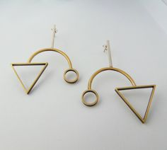 Geometric Shapes Earrings, Triangle and Circle Earrings, Modern Earrings, Minimalist Earrings, Sterling Silver Earrings, Brass Earrings by pepeyoyojewellery on Etsy