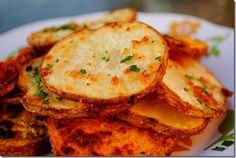oven-baked garlic parmesan fries = heaven on earth, using both sweet potato and russet
