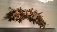 Floral Swag, Large Silk Floral Arrangement, Magnolia, Eucalyptus Wall Swag, Over Door, Archway, Picture Wall Wreath, Tuscan Home Decor by GiftsByWhatABeautifu on Etsy
