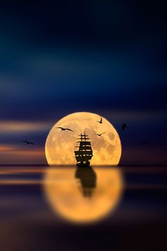 ship and full moon