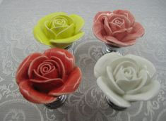 Hey, I found this really awesome Etsy listing at https://www.etsy.com/listing/190202004/rose-flower-ceramic-drawer-knobs-pulls