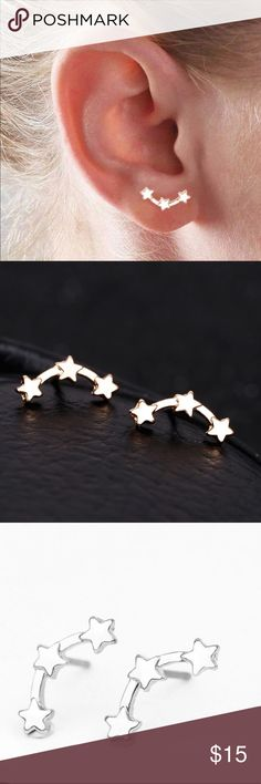 Minimal 3 star studs gold or silver NWOT Star studs Jewelry Earrings