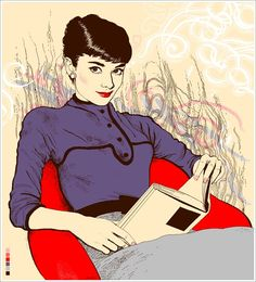 """Audrey Hepburn reading.Agata Endo Nowicka.""""My works became recognized for their pixelated line and bitter-sweet style, however I still only drew at nights and weekends, working as an art director and editor in chief of several magazines during the day. I quit my day job in 2008 to focus solely on illustration, which was probably the best decission of my life. I've worked for many renowned titles, including ELLE, GQ, The New Yorker and New York Times."""""""
