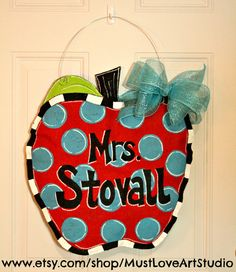 Teacher Apple Burlap Door Hanger Decoration by MustLoveArtStudio, $35.00