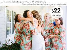 Bridesmaids Robe Sets  Kimono Crossover Robes by SunsetToSunrise
