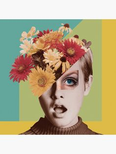 'Twiggy' Poster by lerson Collage Design, Collage Art, Digital Collage, Twiggy, Dorm Art, Thing 1, Graphic Design Inspiration, Watercolor Illustration, Original Artwork