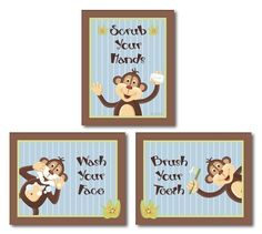 Jungle Monkey Set Of 3 Bathroom Prints WASH YOUR HANDS Kids Bathroom Decor  Art Prints