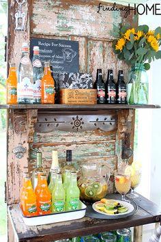 An old door outdoor beverage station: A vintage twist on outdoor living! #HomeGoodsHappy Bar Drinks, Beverages, Beverage Bars, Drink Bar, Bar Station, Door Crafts, Vintage Doors, Antique Doors, Diy Entertainment Center