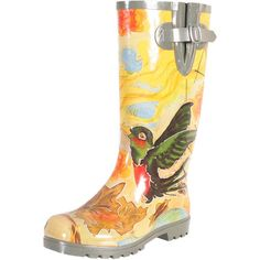 Bring a stylish touch to stormy days with these charming rain boots, showcasing a rubber outsole and hummingbird motif.  Product: