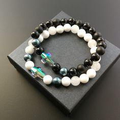 Náramky Swarovski krížik a perly, jadeit, nefrit a ónyx Couple Bracelets, Swarovski Pearls, Jade, Minerals, Beaded Bracelets, Jewelry, Jewlery, Jewerly, Pearl Bracelets