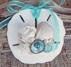 BEACH SANDOLLAR ORNAMENT Aqua No. 1, Christmas & wedding decor, nautical ornament, beach decor, beach Christmas, wedding favor