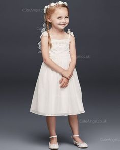 ea Length Chiffon Flower Girl Dress With Tiered Lace Bodice Bridal Flowers 2570ed4b8be8